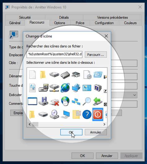 icone raccourci bureau windows 10 créer un raccourci pour arrêter ou émarrer