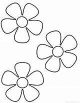 Coloring Flower Easy Simple Adults Popular sketch template