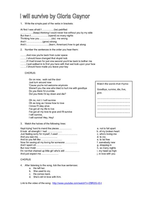 song worksheet i will survive by gloria gaynor
