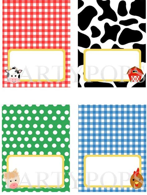 diy farm party food label  place card tabel tent card