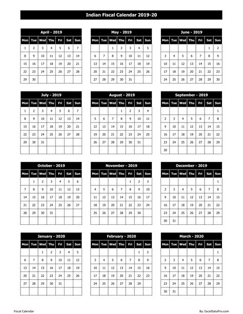indian fiscal calendar   excel template