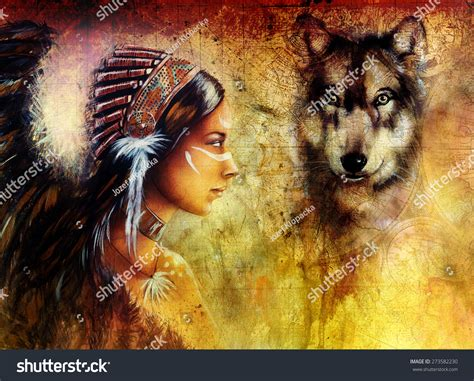 Young Indian Woman Wearing Wolf Feather Stock Illustration