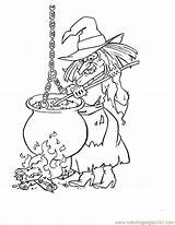 Cauldron Witch Halloween Coloring Printable Pages Witches Holidays sketch template