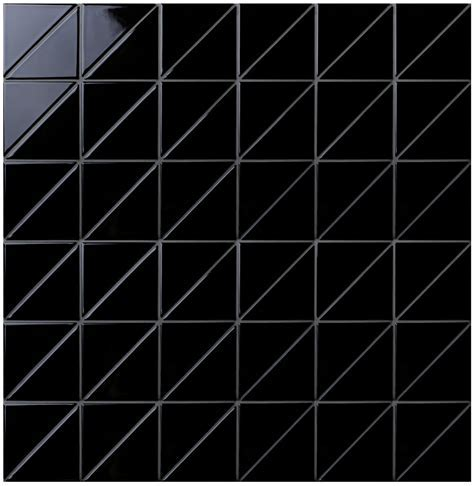 """4"""" Linear Glossy Black Triangle Tile Pattern For Kitchen"""