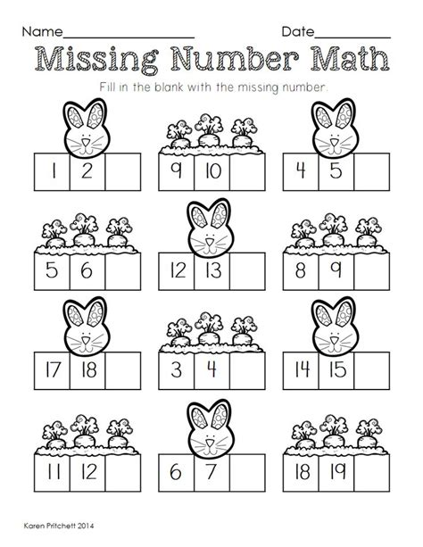 easter math graphing missing number counting on ten