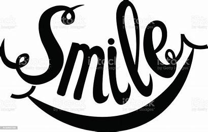 Smile Word Vector Lettering Hand Smiling Drawn