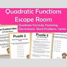 Quadratic Function Escape Room  Vertex, Factoring, Quad Formula, Discriminant, Word Problems By