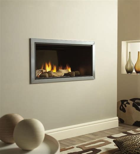 In The Wall Gas Fireplaces - wall mounted fires verine vertex slimline polished trim