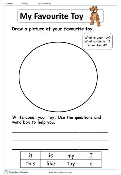 favourite toy english writing worksheet english