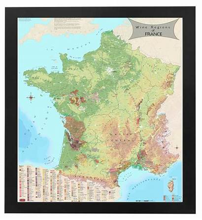 France Framed Map Wine Regions Kentucky Bourbon