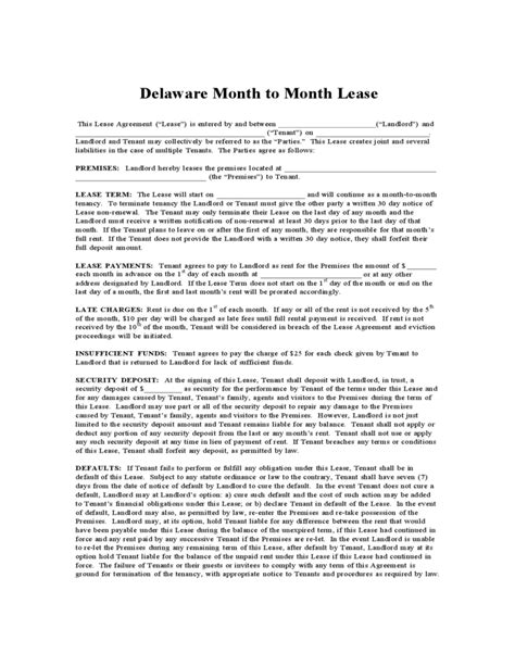 delaware month  month lease agreement