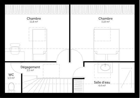 plan maison à étage avec 2 chambres ooreka