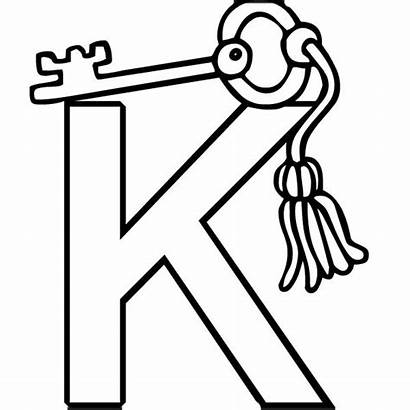 Letter Coloring Pages Key Alphabet Preschool Printable