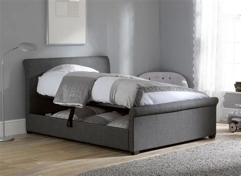 Grey Fabric Bed With Mattress wilson grey fabric upholstered bed frame king size 163 299