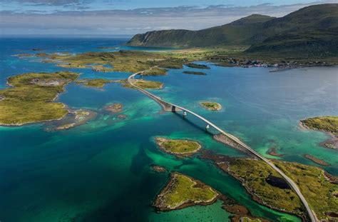 nature landscape island sea bridge norway village