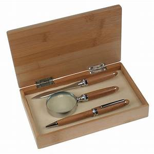 bamboo pen letter opener and magnifier gift set With pen letter opener gift sets