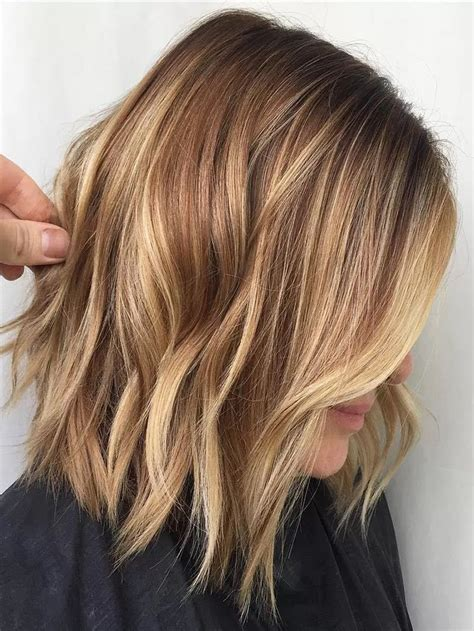 Hairstyles With Highlights by Light Brown Color With Caramel Medium Length Hairstyle