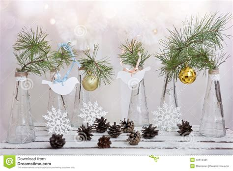 christmas decorations   branch  tree  glass vases