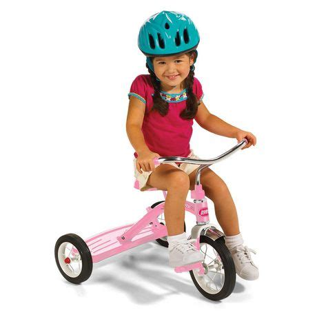 radio flyer classic pink tricycle  push handle