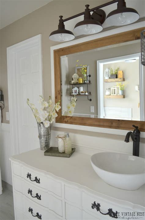 farmhouse bathroom lighting farmhouse master bathroom reveal vintage nest Farmhouse Bathroom Lighting