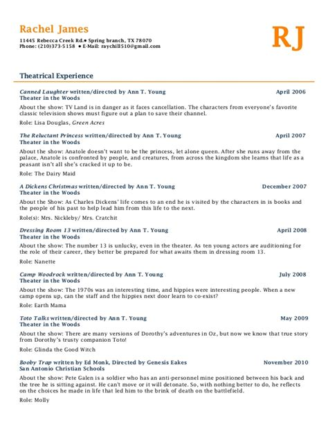Theater Resume Exle by Theatre Resume Resume Ideas