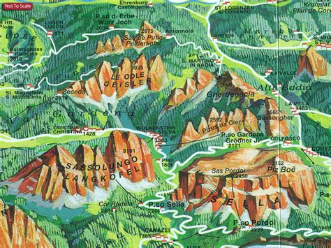south tyrol dolomites tabacco road  panorama map