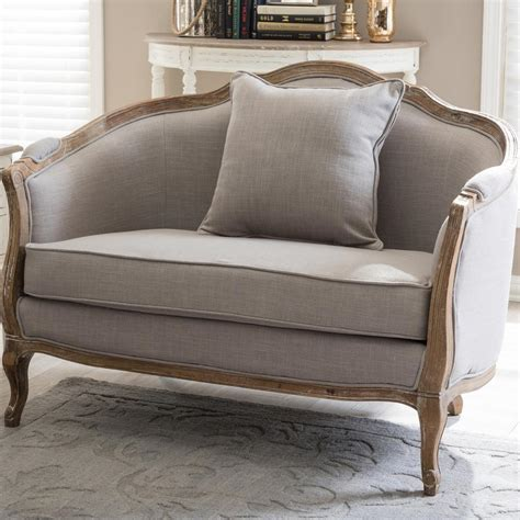 Upholstered Loveseat by Baxton Studio Corneille Inspired Beige Fabric
