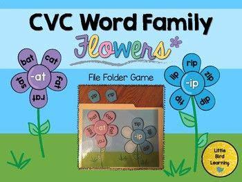 cvc word family flowers file folder freebie  images