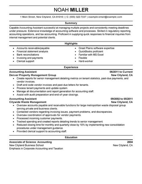Exle Of Resume For Accountant Position by Best Accounting Assistant Resume Exle Livecareer