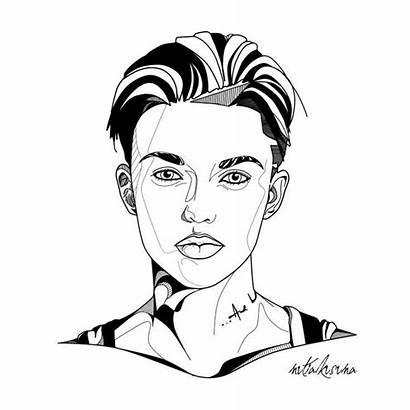 Ruby Rose Dj Orange Line Drawings