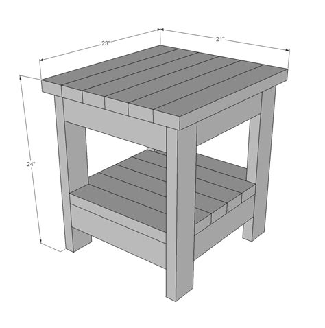 rustik 2x4 dimensions white tryde end table with shelf updated pocket plans diy projects