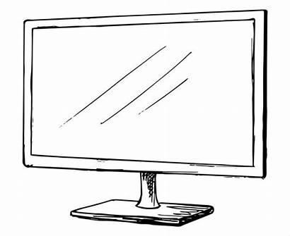 Sketch Monitor Television Clip Flatscreen Illustrations Isolated