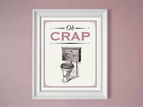 Pink Bathroom Wall Decor by Oh Crap Pink Mauve Humorous Bathroom Sign Wall Decor 8x10