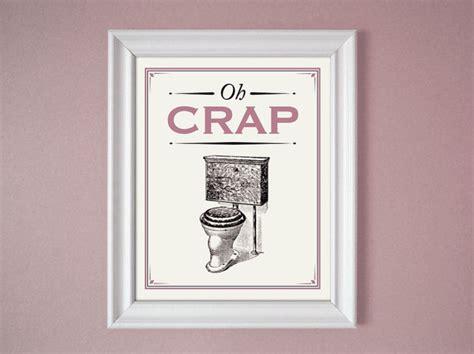 oh crap pink mauve humorous bathroom sign wall decor 8x10