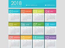 2018 calendar template bright colorful modern design