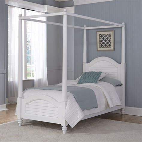 wood twin canopy bed  white