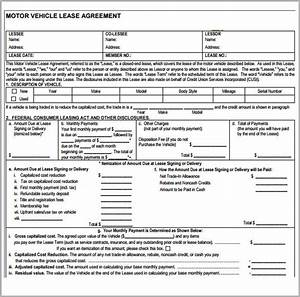 sample vehicle lease agreement template 7 free With motor vehicle lease agreement template