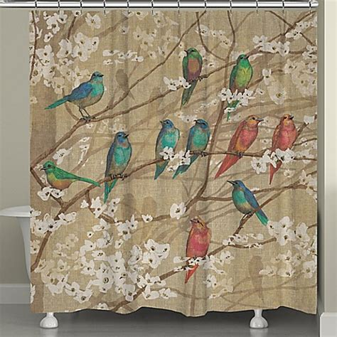 bird shower curtain laural home 174 birds and blossoms shower curtain bed bath