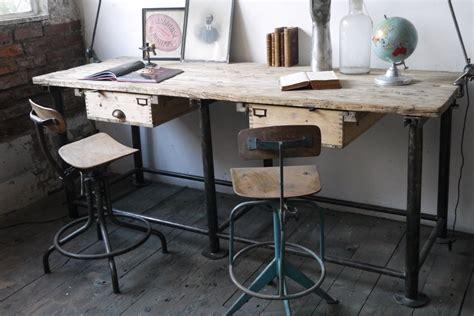 bureau bois et metal bureau industriel poste de travail metal et bois