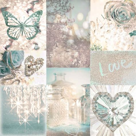arthouse love paris teal  cream chic montage glitter