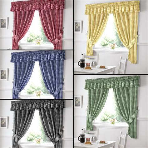 gingham check kitchen tape top curtains red blue black
