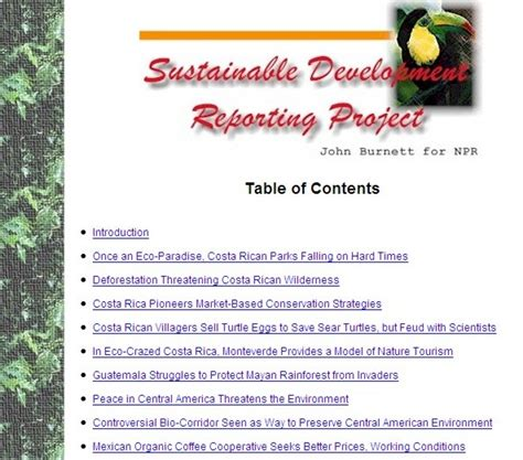 lanic etext collection sustainable development reporting project