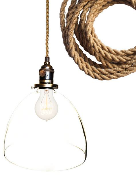 rustic ship rope 8 quot clear blown glass pendant light
