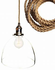 Rustic ship rope quot clear hand blown glass pendant light