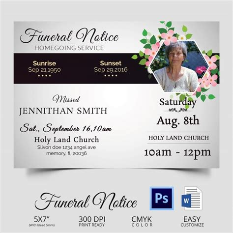 funeral notices psd vector eps