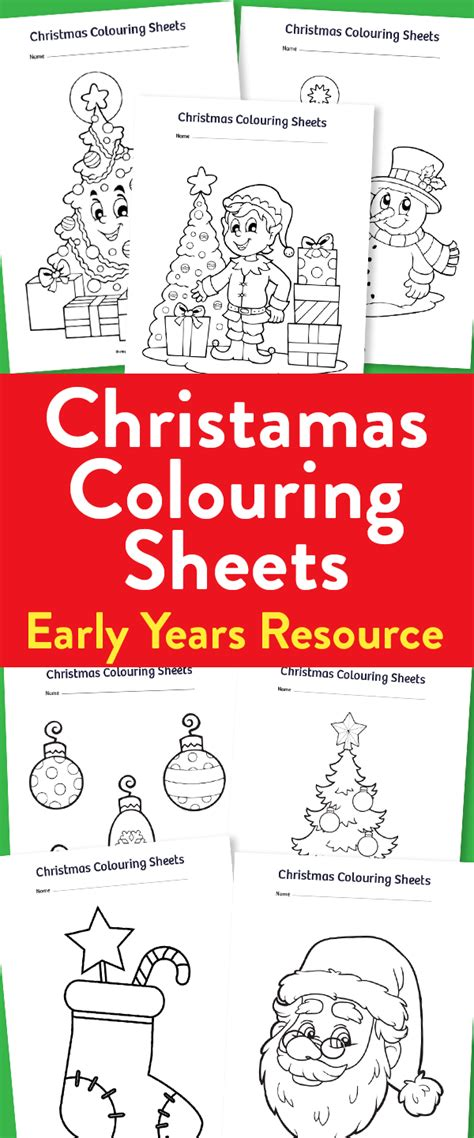 Early Years Christmas Colouring Sheets   Teachwire