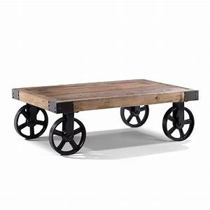 Roue Industrielle Pour Table Basse : table basse style industriel en bois vieilli ~ Nature-et-papiers.com Idées de Décoration