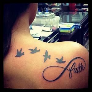 Flying Birds Infinity Faith Tattoo On Girl Right Back Shoulder