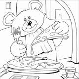 Pizza Coloring Pages Colouring Bear Teddy Printable Bears Italian Sheets Eat Books Cooking Animals Craft Birthday sketch template
