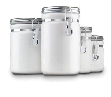 white kitchen storage jars white canister set 4 ceramic kitchen storage jars lids 1407